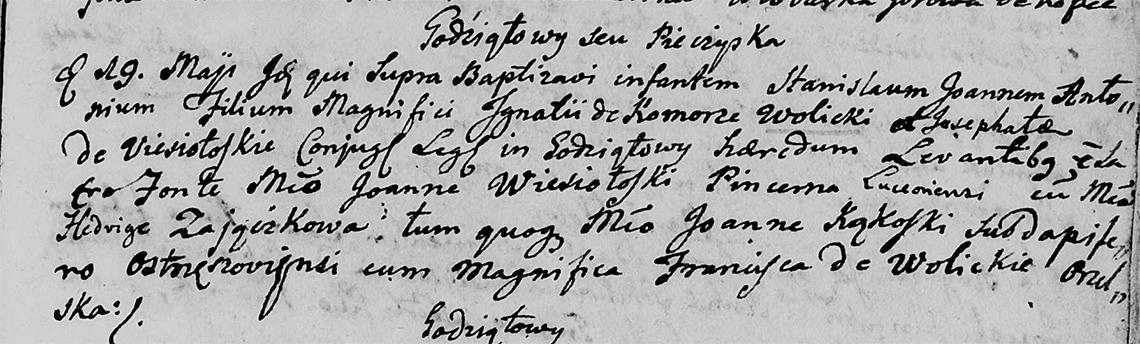 Akt metrykalny chrztu Stanisław Jan Antoni Wolicki w dniu 19.05.1766 r.