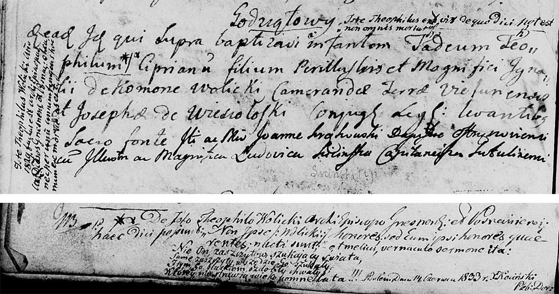 Akt metrykalny chrztu Tadeusz Teodor Cyprian Wolicki w dniu 30.10.1768 r.