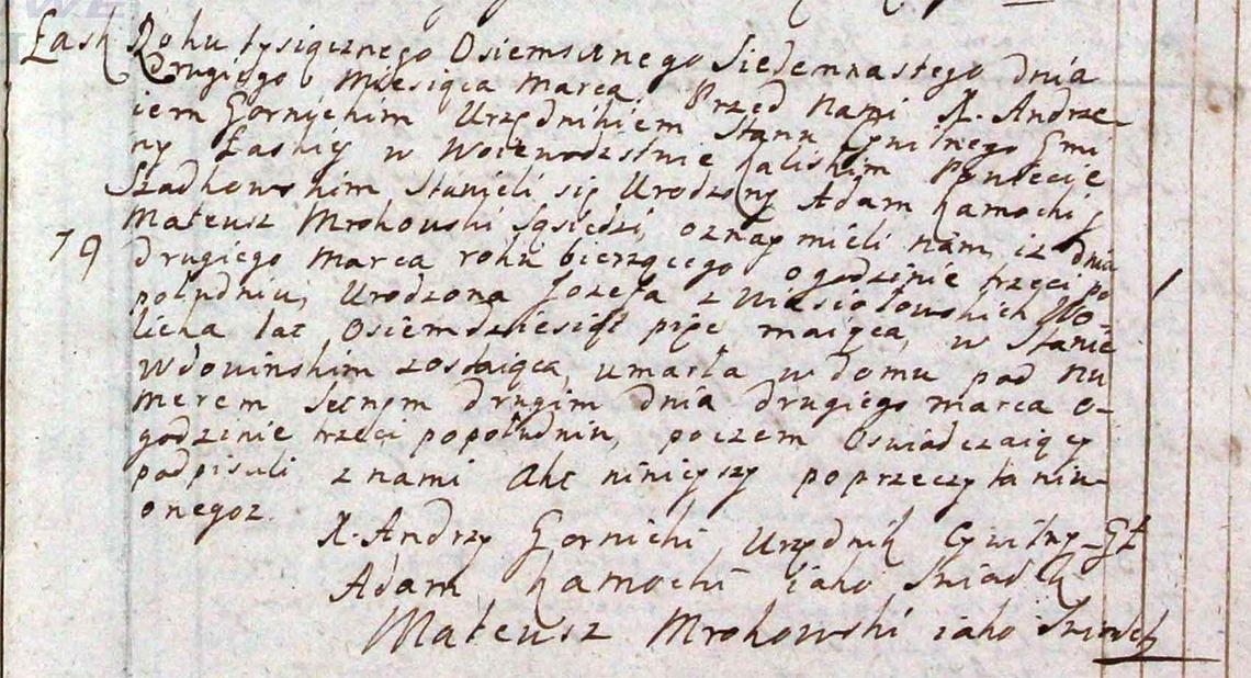 Akt stanu cywilnego zgonu Józefa z Wiesiołowskich Wolicka 02.03.1817 r