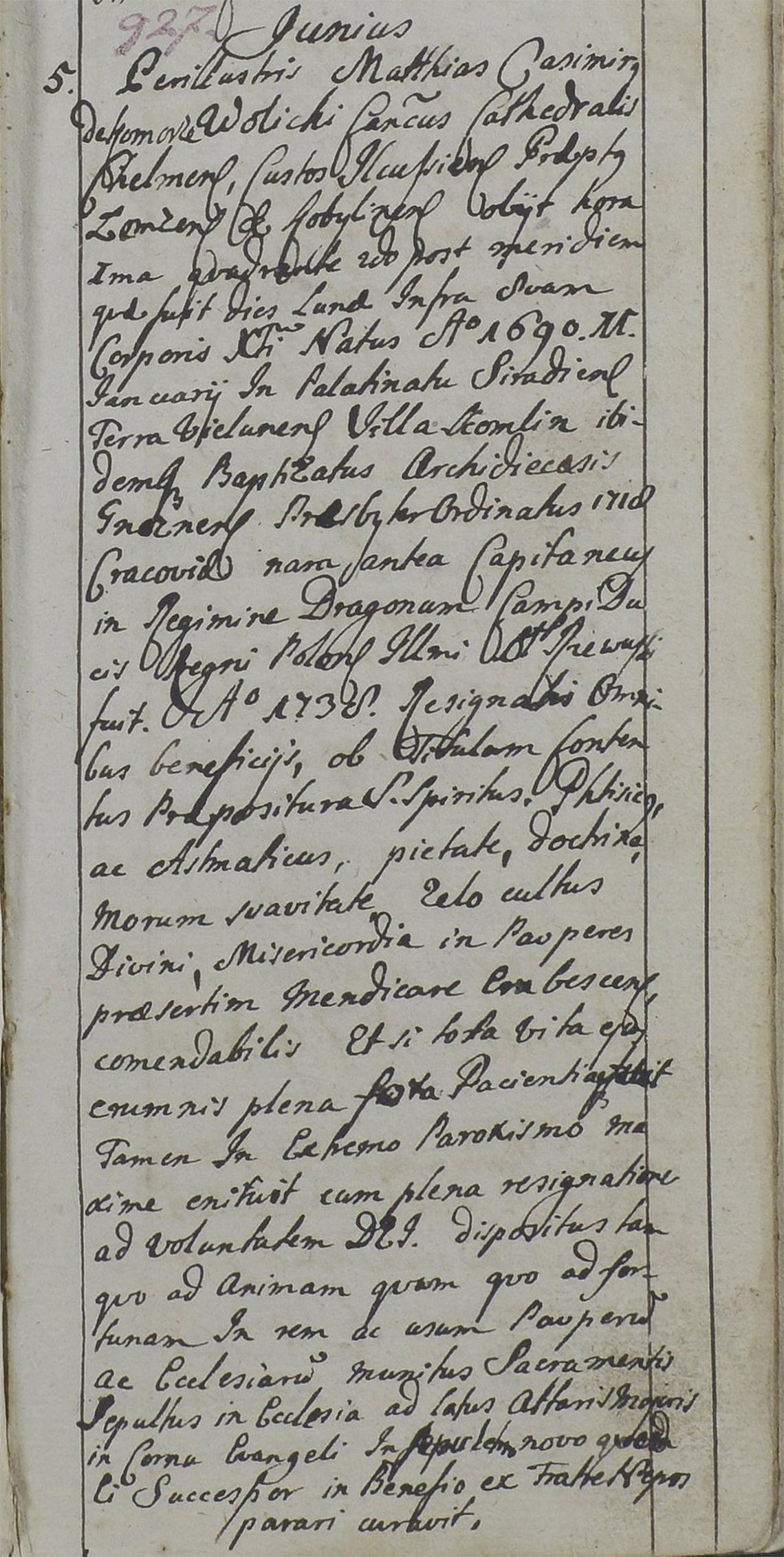 Akt stanu cywilnego zgonu Maciej Kazimierz Wolicki 05.06.1741 r