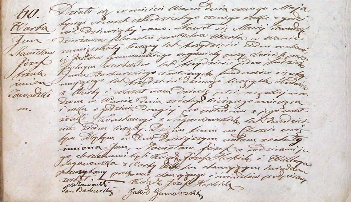 Akt stanu cywilnego urodzenia Jan Stanisław Józef Zawadzki 06.05.1848 r.