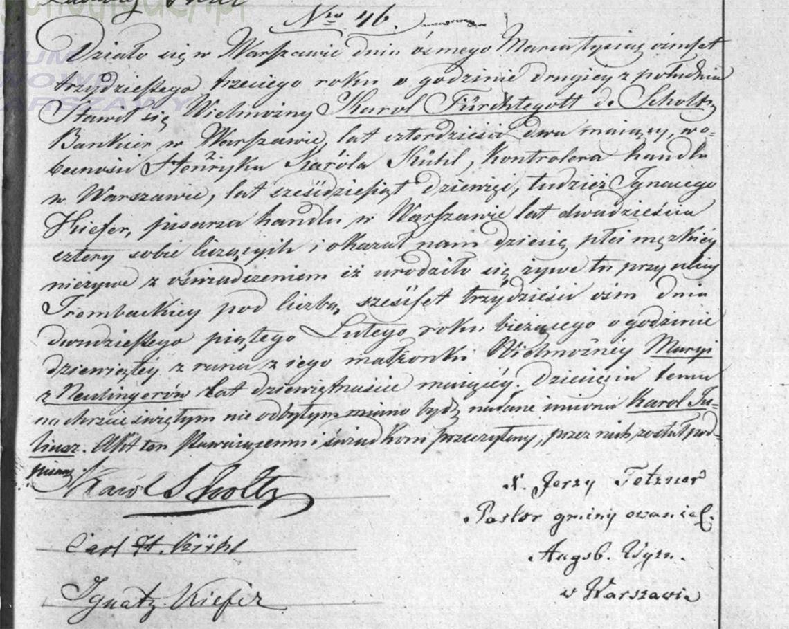 Akt stanu cywilnego urodzenia Karol Juliusz de Scholtz 25.02.1833 r.