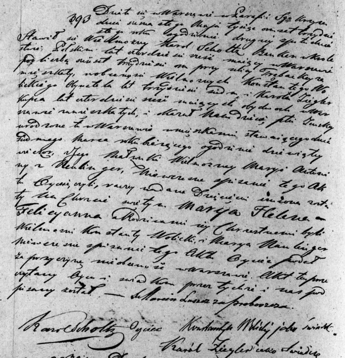 Akt stanu cywilnego urodzenia Maryia Helena Felicyanna Scholtz 07.03.1830 r.
