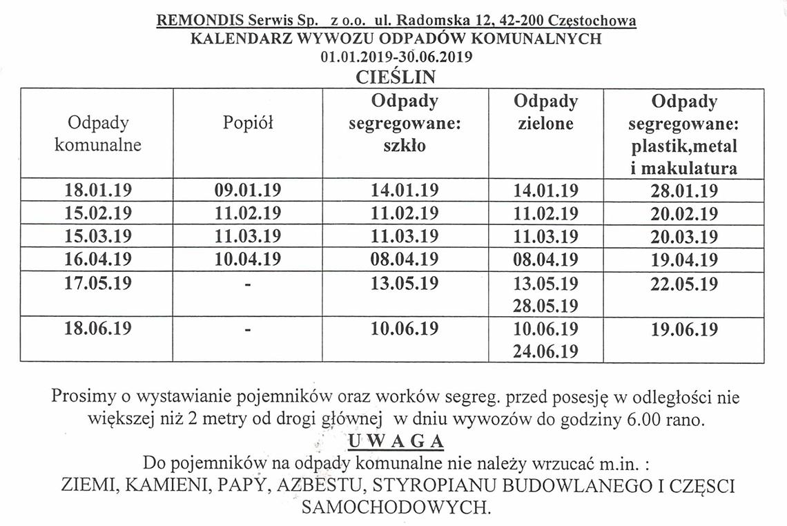 Harmonogram wywozu odpadów komunalnych 01.01.2019 - 30.06.2019