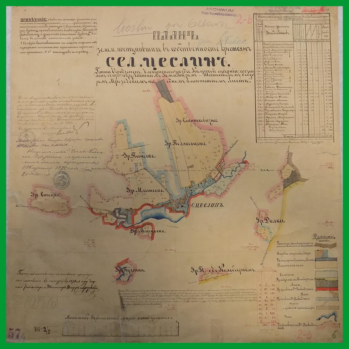 Plan ziemi będących własnocią chłopów wsi Cieślin (1873)
