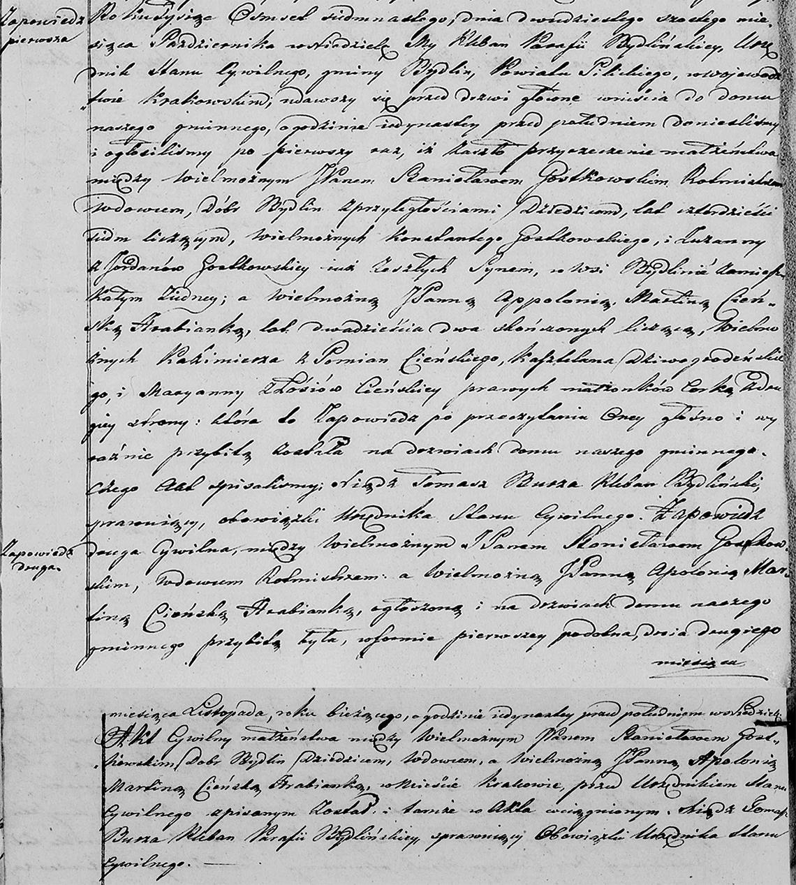 Stanisław Gostkowski & Appolonia Martina Cieński małż. 03.11.1817 r. (zapowiedzi - par. Bydlin 1817)