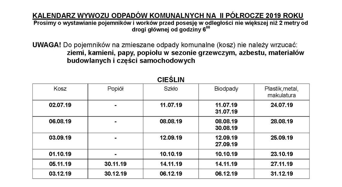 Harmonogram wywozu odpadów komunalnych 01.07.2019 - 31.12.2019