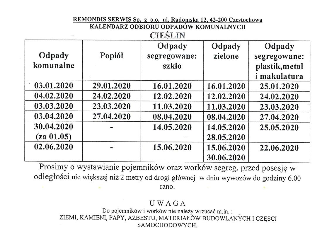 armonogram wywozu odpadów komunalnych 01.01.2020 - 30.06.2020