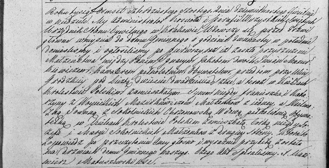 Zapowiedź pierwsza małżeństwa Ignacy Jakób Mazurkiewicz & Joanna z Sokolnickich Chrzonowska 19.04.1846 r.