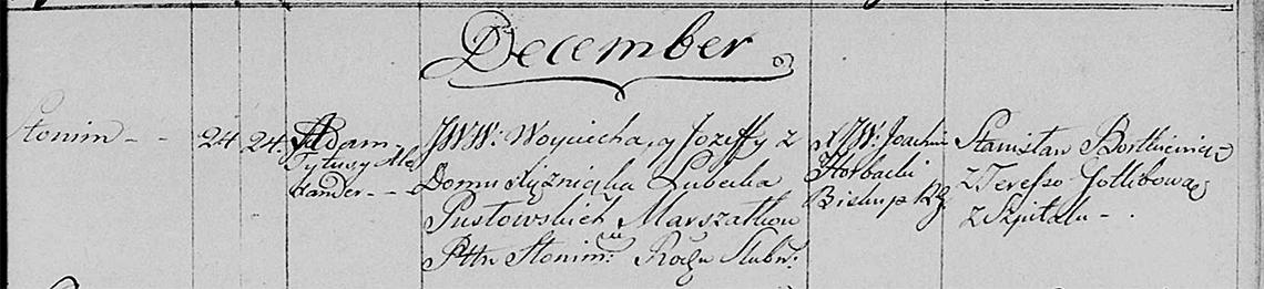 Akt metrykalny chrztu Adam Tytus Alexander Pusłowski 24.12.1803 r.