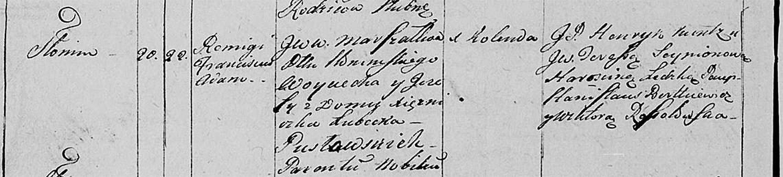 Akt metrykalny chrztu Romigi Franciszek Adam Pusłowski 22.09.1806 r.