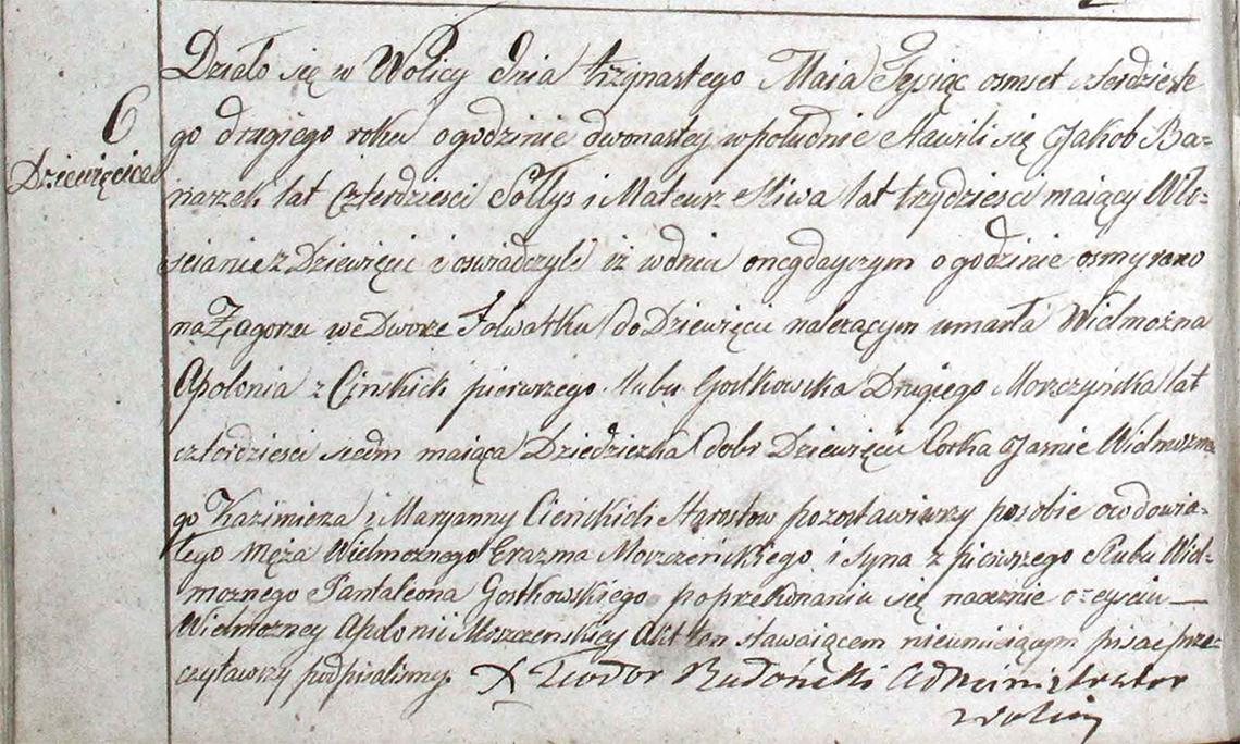 Akt stanu cywilnego zgonu Apolonia z Cieńskich Moszczeńska 11.05.1842 r.