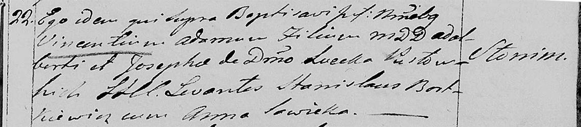 Akt metrykalny chrztu Wincenty Adam Pusłowski 22.07.1810 r.