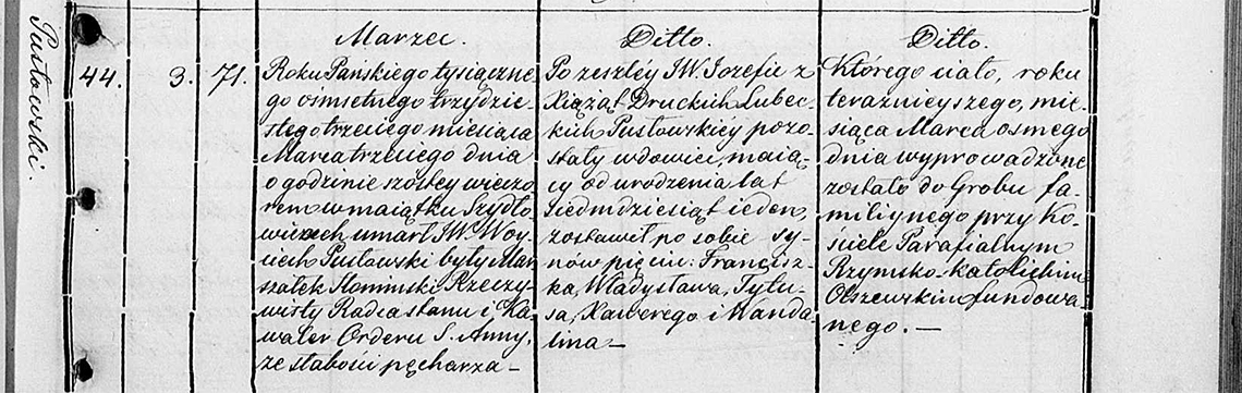Akt metrykalny zgonu Woyciech Pusłowski 03.03.1833 r.