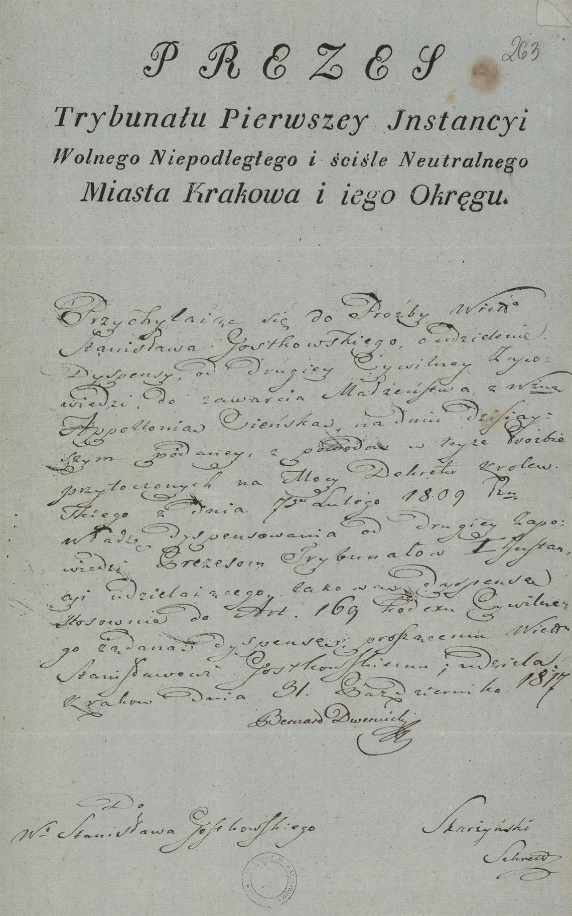 Alegaty do małżeństwa Stanisław Gostkowski & Martyna Apolonia Cieński (03.11.1817 r.) (7)