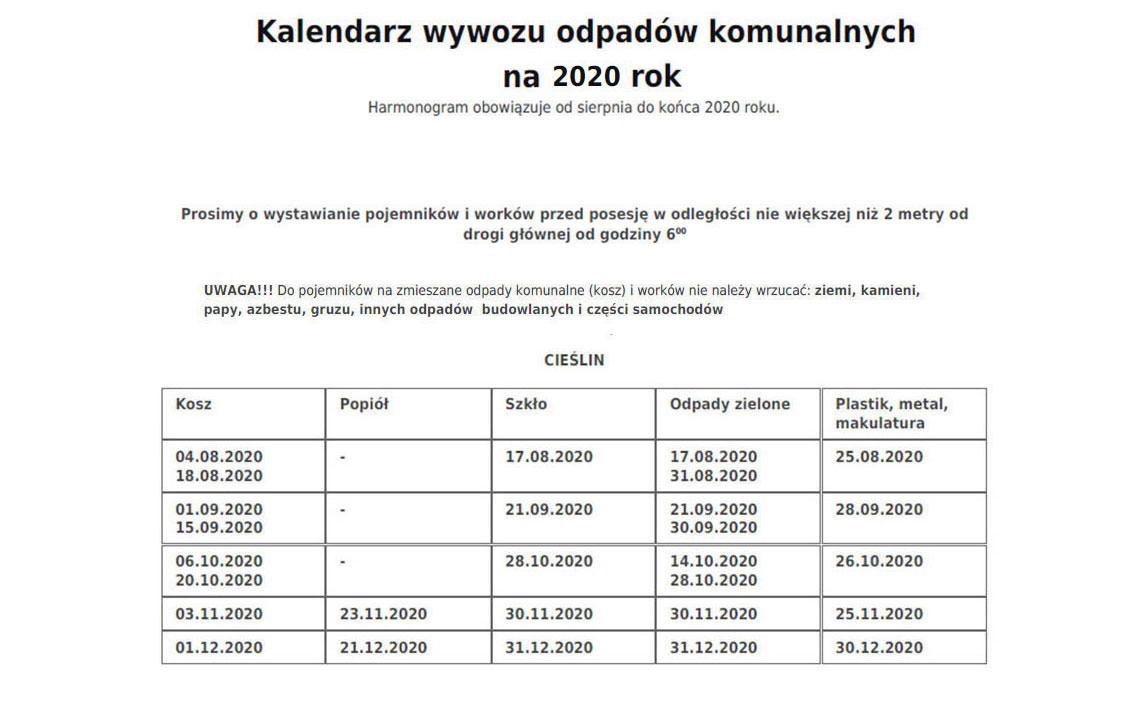 Kalendarz wywozu odpadów komunalnych na 2020 rok