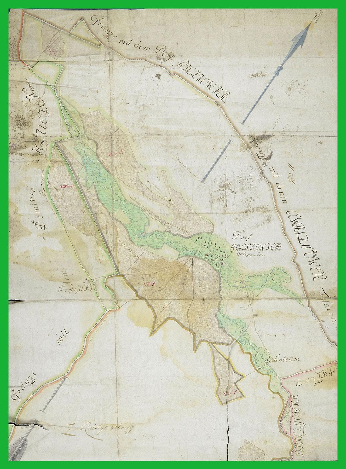 Mapa lasów przy wsi Gołczowice i Kobylica - ekonomia Rabsztyn (pomiędzy 1795-1807)
