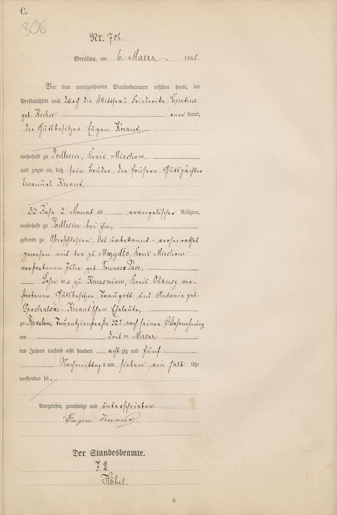 Akt USC zgonu Emanuel Knaut 03.03.1885 r.