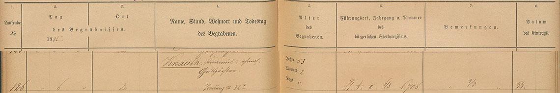 Akt metrykalny zgonu Emanuel Knauth zm. 03.03.1885 r.
