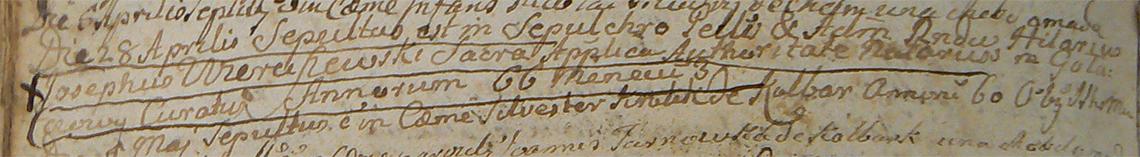 Akt metrykalny zgonu ks. Hilarego Józefa Wierciszewskiego 28.04.1785 r.