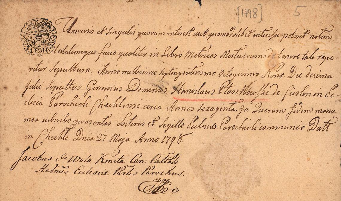 Metryka pogrzebu Stanisław Ptaszkowski 10.07.1789 r.