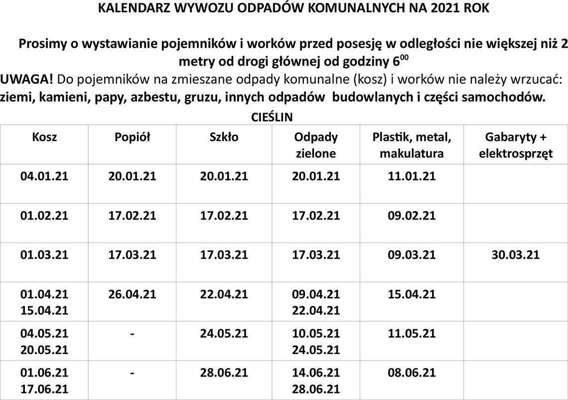 Kalendarz wywozu odpadów komunalnych w I półroczu 2021 roku