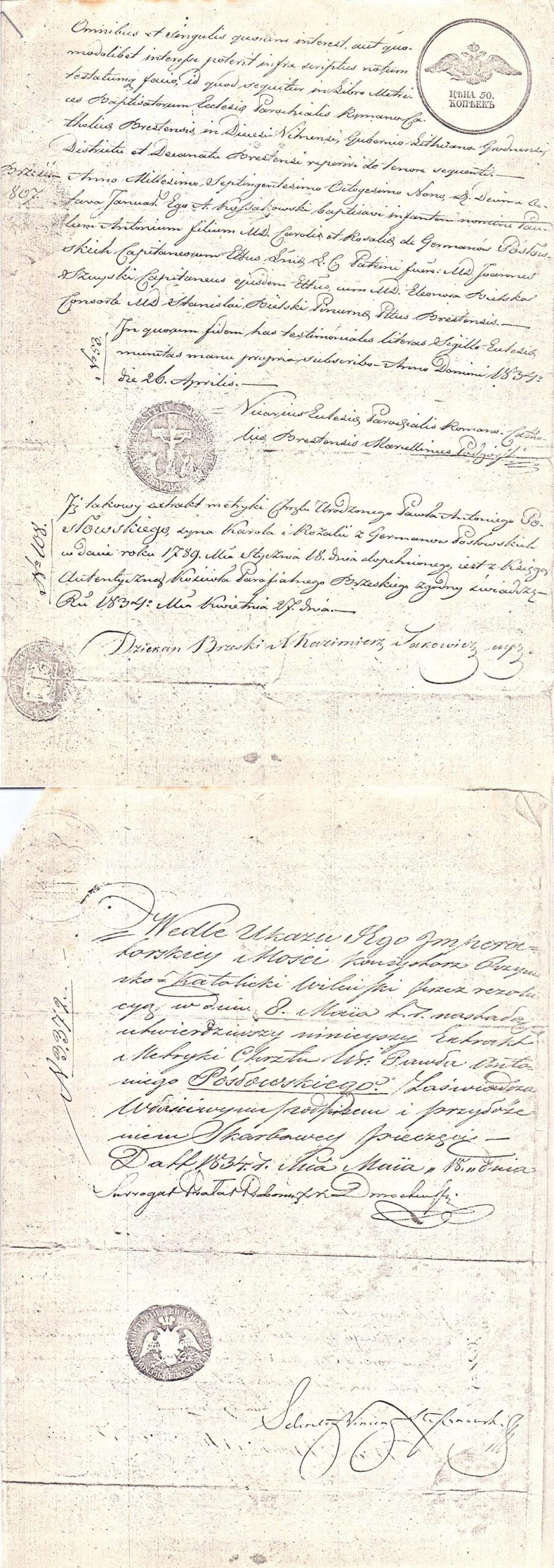 Wypis z metryki chrztu Paweł Antoni Posłowski 18.01.1789 r.