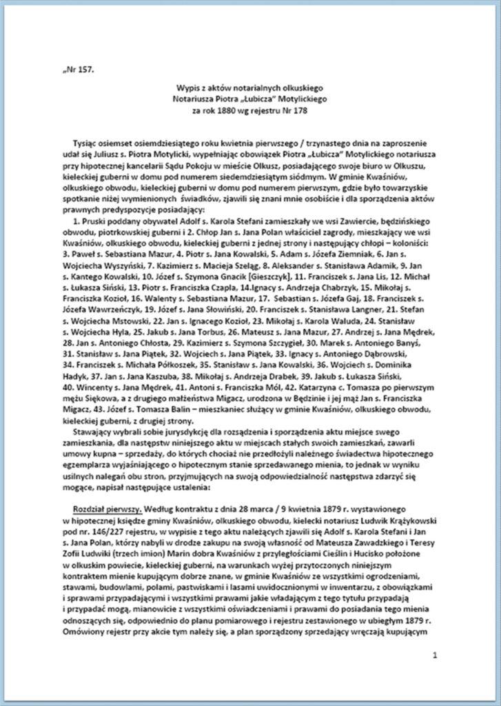 Parcelacja Dóbr Kwaśniów - sprzedaż ziemi osadnikom 01-13.04.1880 (1)