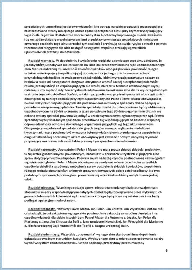 Parcelacja Dóbr Kwaśniów - sprzedaż ziemi osadnikom 01-13.04.1880 (6)