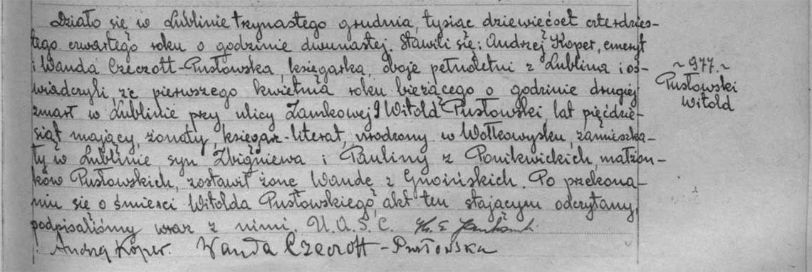 Akt stanu cywilnego zgonu Witold Pusłowski 01.04.1944 r.