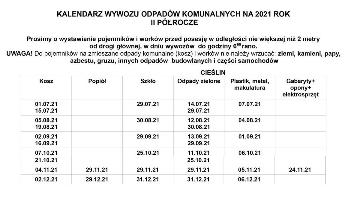 Kalendarz wywozu odpadów komunalnych na 2021 rok - II półrocze