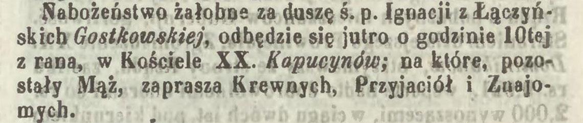 Nekrolog po śmierci Ignacja Gostkowska zm. 25.09/07.10.1954 r.